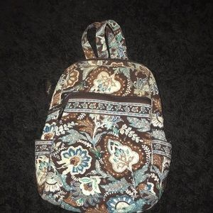 Brown and blue mini backpack